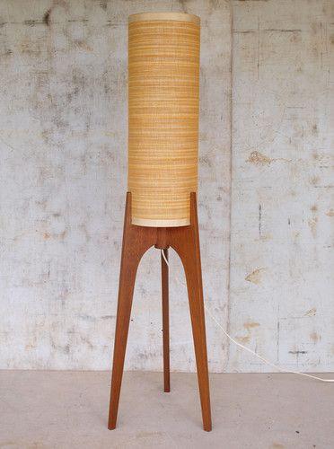 Vintage RETRO 60s Teak Floor ROCKET LAMP Light Orange Atomic Danish