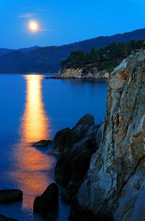 VISIT GREECE  Moonlight on The Aegean Sea, #Greece