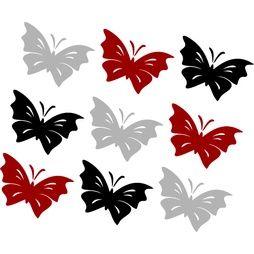 Väggdekor 9st Fjärilar  Strl 56x37 mm  Svart,Silver,Vinröd