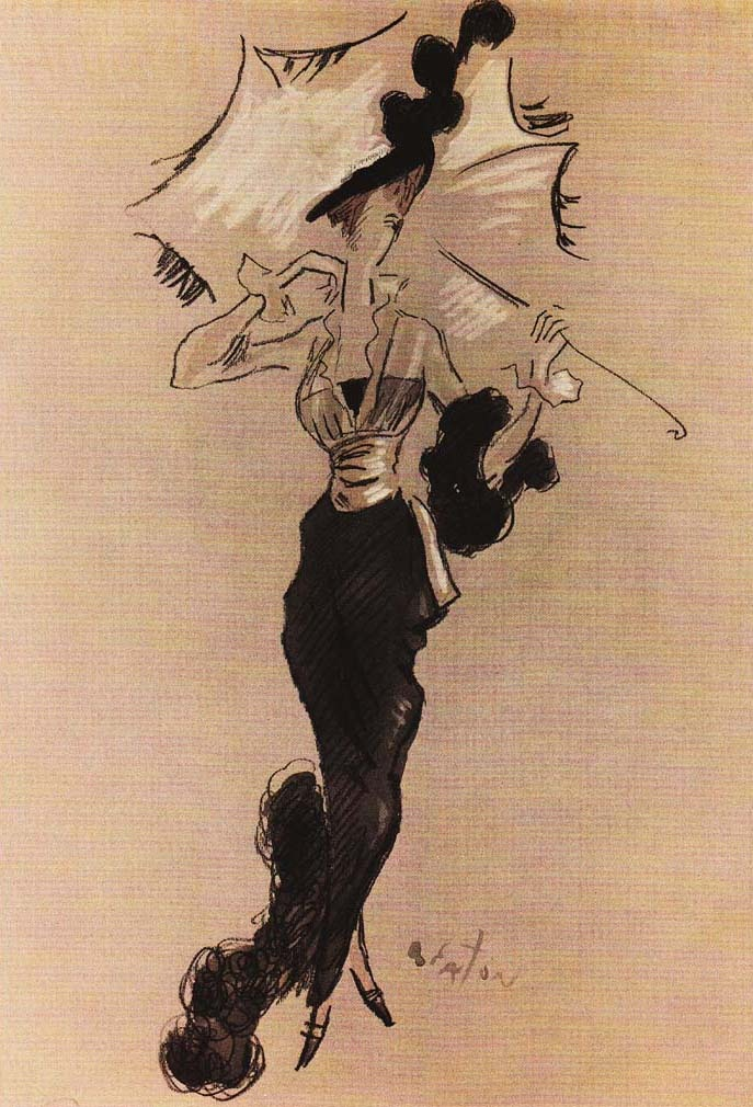 Costume illustration for the 'Ascot' scene, 'My Fair Lady' 1964. Design and illustration by Cecil Beaton.