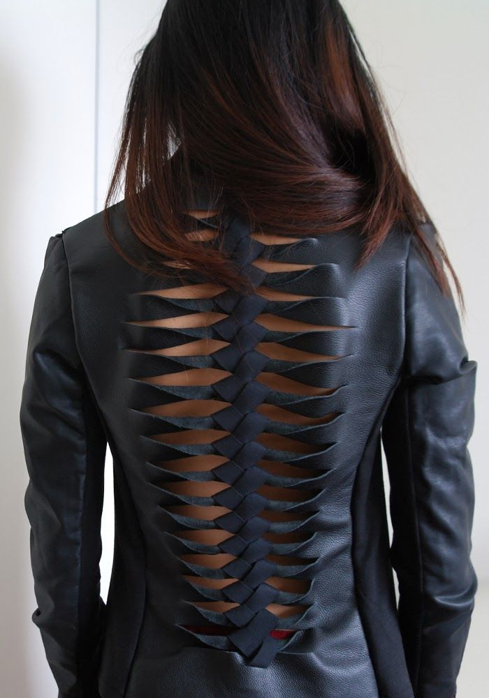 DIY Dion Lee 3D Filter Jacket, leather jacket with spine-like detail on the back. Dion Lee is an up and coming Australian designer...
