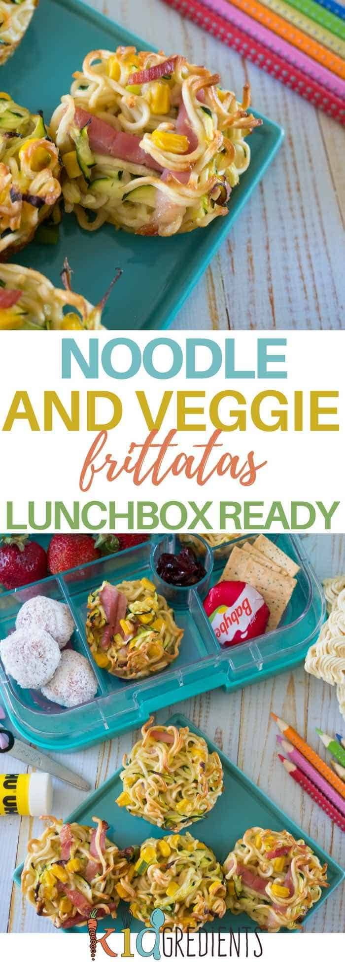 Perfect for the lunchbox, these noodle and veggie frittatas are a fun way to include veggies and eggs!  Freezer friendly and super delicious. #kidsfood #lunchbox #kidslunchbox #