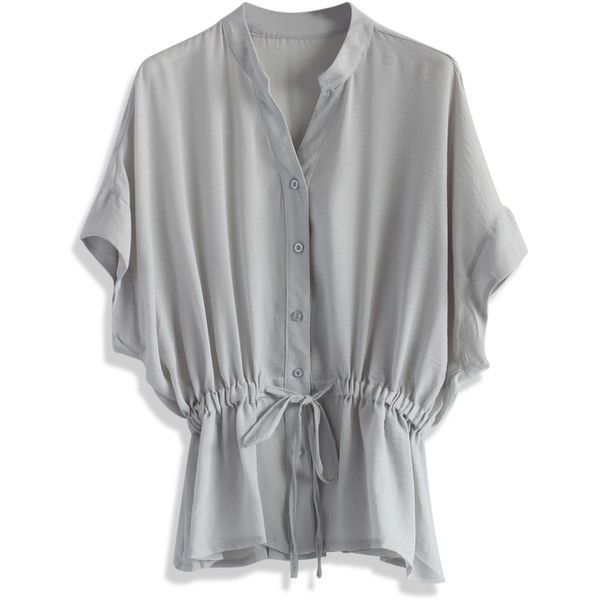 Chicwish Charme Batwing Crepe Top in Grey ($38) ❤ liked on Polyvore featuring tops, grey, button down tops, crepe top, grey top, batwing top and tie top