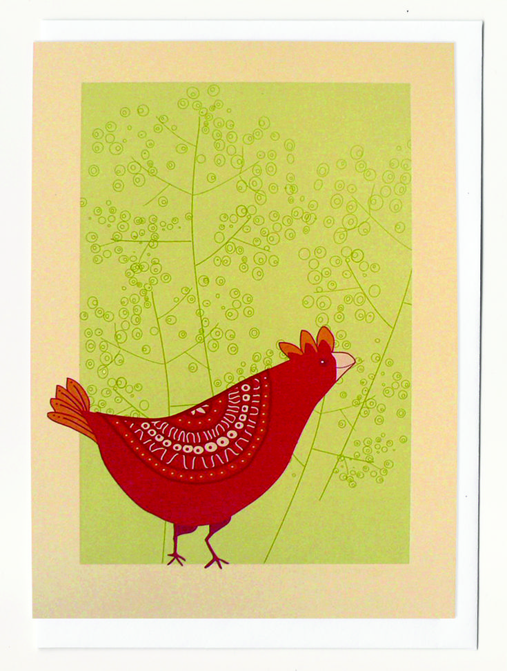 Kindling. Chicken note card. Available in Friday Showbag.