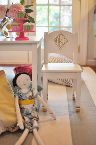 Backwards in Heels: Allie's new (Ikea hack) monogrammed play table.