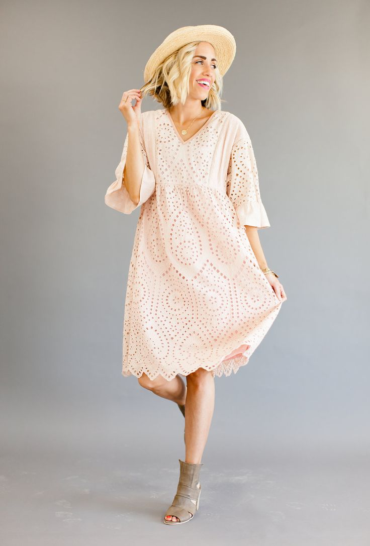 Spring/Summer Special Occasion Eyelet Dress in Blush   ROOLEE