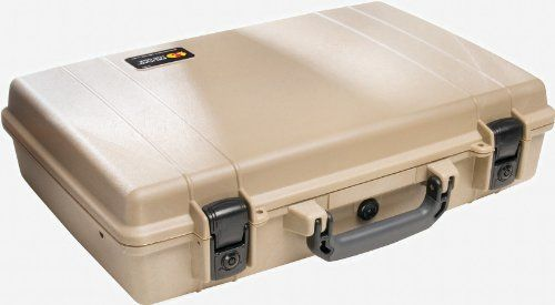 Pelican 1490 Laptop Case with Foam (Desert Tan) Pelican cases are kept watertight through the use of a tongue and groove fit and a polymer o-ring.^Pelican cases come standard with an Automatic Pressure Equalization Valve which releases built up air pressure while keeping water out.^Double safety locking latches with keys^Interior Dimensions (inches): 17.75 x 11.37 x 4.12.  #Pelican #CE