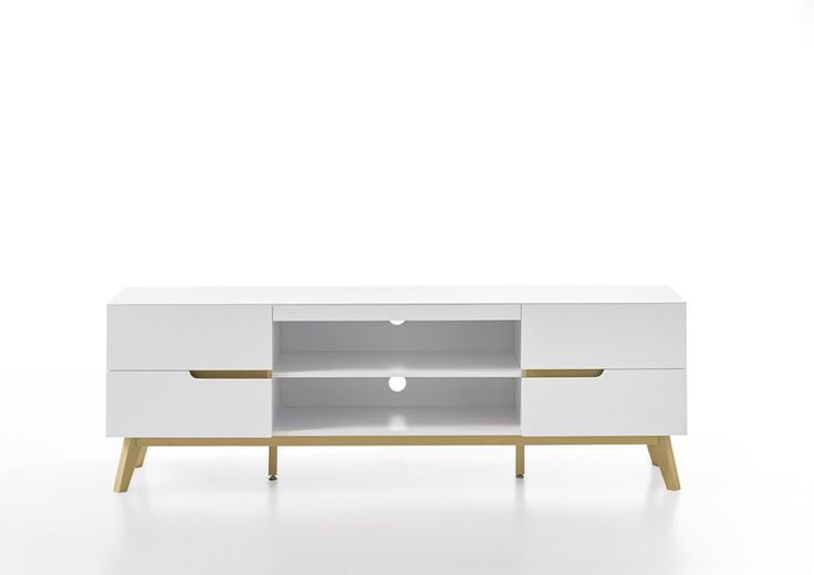 Modern White TV Stand with Oak Legs