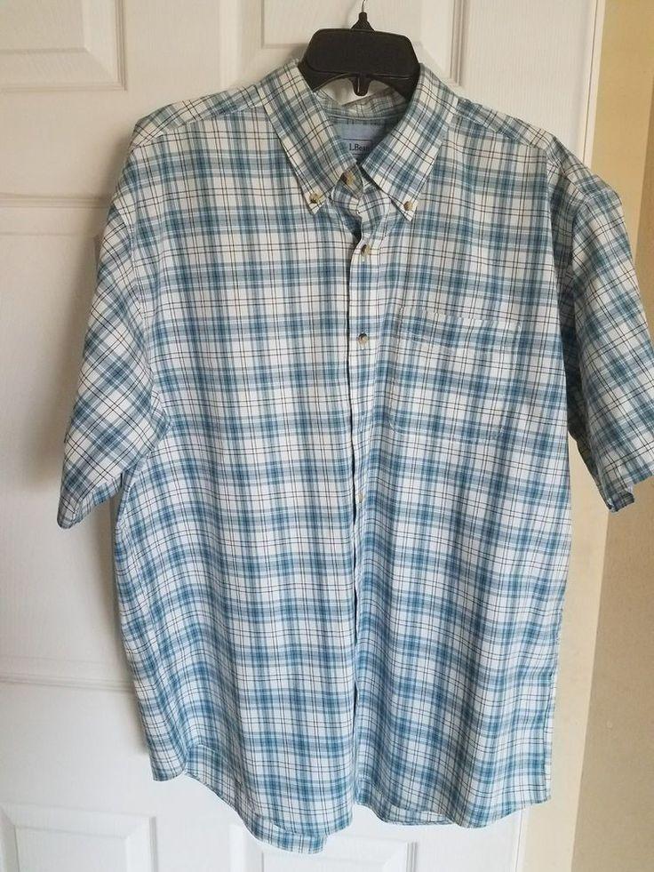 LL Bean Men's Large Short Sleeve Blue Green Checked 100% Cotton Shirt. Fiber Content: 100% Cotton. Sleeve Style : Short Sleeve. Material : Cotton. Size: Large-Regular. | eBay!