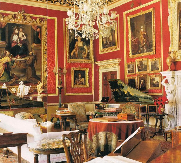 Alec Cobbe, a painter-designer-musician lives at Hatchlands Park, a National Trust property in Surrey, England. A great master in the arrangement of pictures, the Salon features his display of artwork as seen in March 1996 issue of AD - The Devoted Classicist