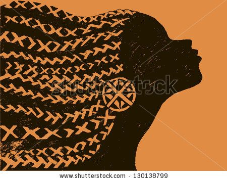 silhouette of woman.Beautiful black woman.African with pigtails
