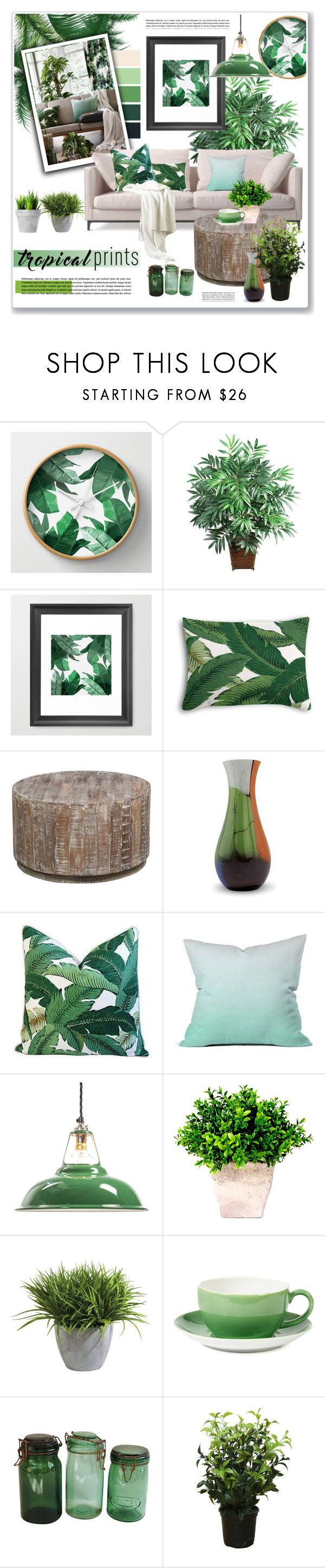 """""""tropical prints living room"""" by nanawidia ❤ liked on Polyvore featuring interior, interiors, interior design, home, home decor, interior decorating, Nearly Natural, Kosas Collections, NOVICA and DENY Designs"""