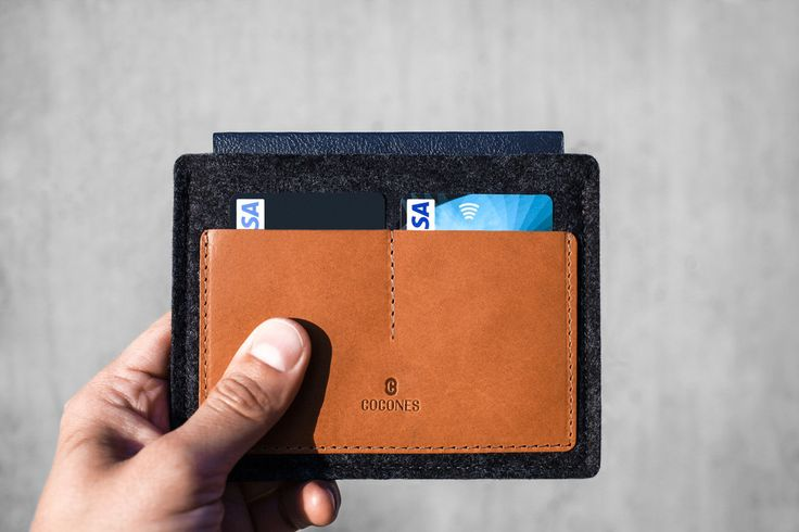 Cocones - Passport Wallet - 100% Merino Wool Felt and Vegetable Tanned Leather