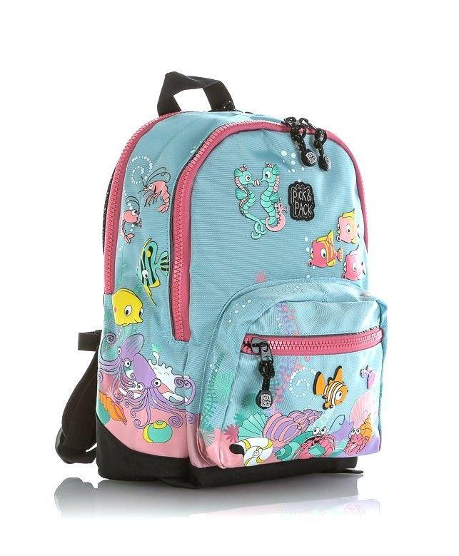 Mochila Friends marca Pick & Pack. Un modelo ideal para niñas diseñado en colores rosados sobre fondo azul. Su simpático diseño representa el fondo del mar y las criaturas que lo habitan. Los amigos del arrecife están preparados para acompañarte al colegio y en tus excursiones. La mochila Friends de Pick & Pack es un modelo de pequeñas dimensiones (36,5x26,5x12,5 cm) ideal para la guardería o la etapa infantil de primaria. Su diseño es de lo más original. Tiene dos compartimentos, uno...