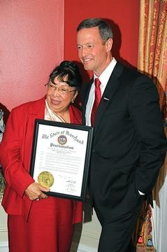Ruth T. Sheffey, PhD, the second longest-serving faculty member at Morgan State University and a renowned scholar in literature, was honored by Gov. Martin O'Malley and First Lady Katie O'Malley at the 2012 Black History Month reception Feb. 23 at Government House.