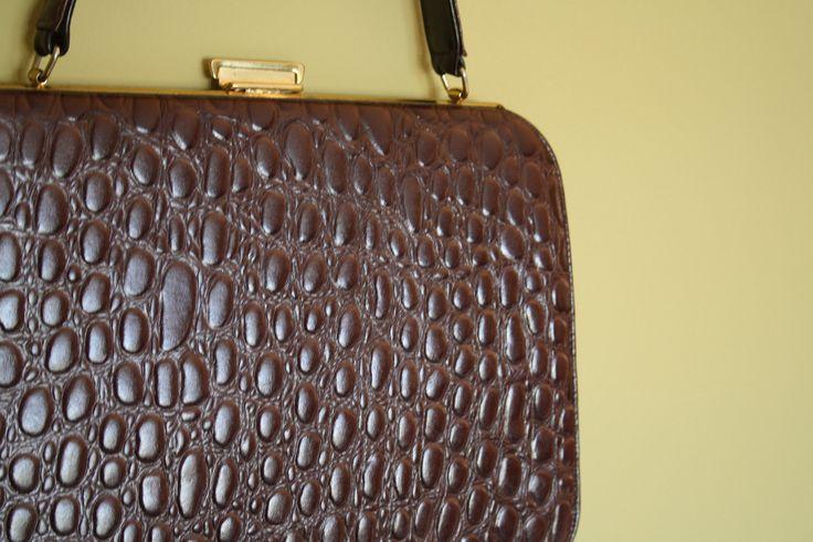 50s crocodile alligator handbag purse brown by thewitcheryvintage, $40.00