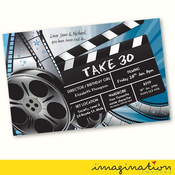 MOVIE FANCY DRESS PARTY BIRTHDAY INVITE ~ DIGITAL FILE SUPPLIED <<  Choice of size: 5x7 digital image invitation. You will be emailed a