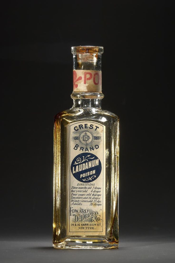 American Gilded Age era Medicine: Landanum, solution of Opium and Alcohol used as a painkiller and sedative. c.1880's - c.1890's. Edward D. Depew and Co. -  14 & 16 Harrison St., New York. ~ {cwl} ~ (Smithsonian)