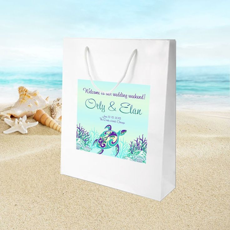 #beachwedding #seaturtle white gloss welcome bag for hotel guest hospitality gift bag or wedding favor by #bestwelcomebags