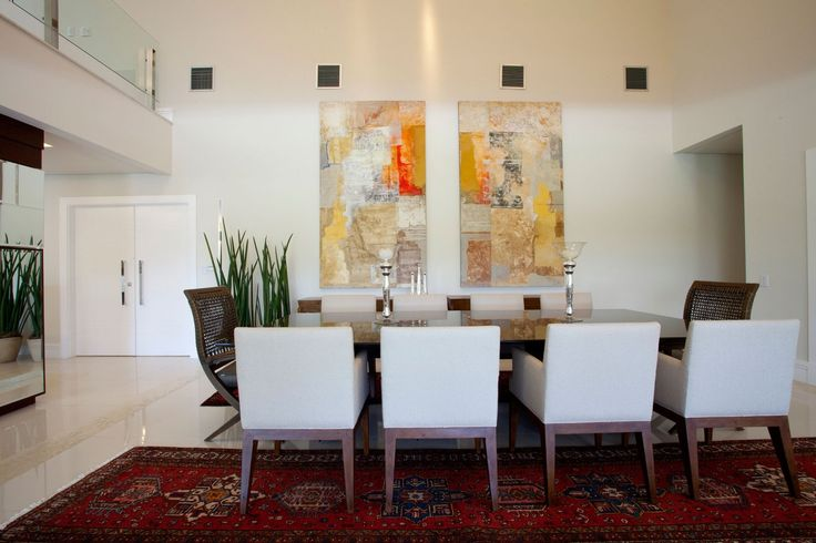 wonderful-dining-room-with-twin-art-painting-on-white-wall-also-large-brown-dining-table-combine-arranged-white-chairs-in-red-pattern-carpet-for-painting-a-large-room-ideas-painting-a-large-room-home