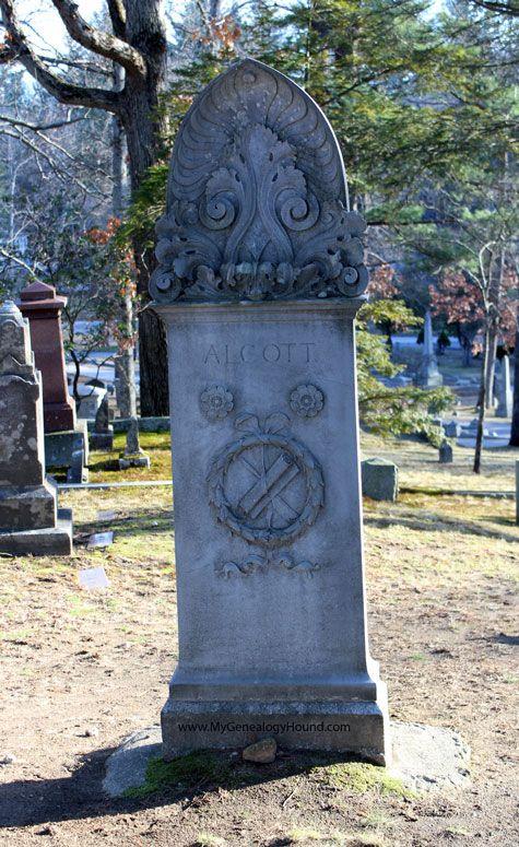 Alcott Family Tombstone in Sleepy Hollow Cemetery, Concord, Massachusetts, back, photo
