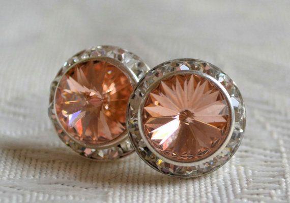 Swarovski  light peach crystal earrings 16mm by CreativityAtPlay, $18.00