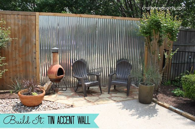 Add Tin to Fence to create an Accent Wall outdoors - as done by Crafty Texas Girls