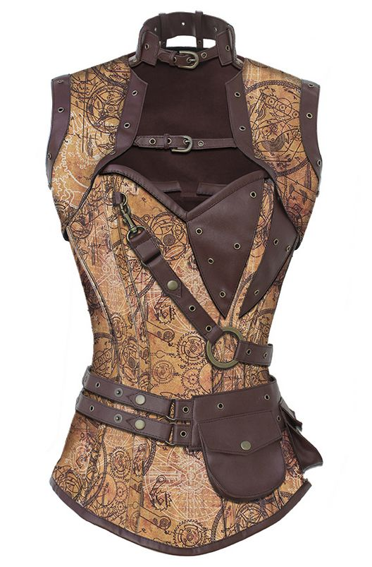 A little too bondage-y, but I ike the leather and the belt, and the asymmetry of this, also the high neck and shoulders.  and the print is amazing.