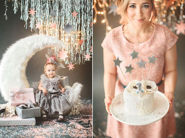 first birthday cake moon star pink silver декоратор Юлия Штейзель decor by Julia Shteyzel