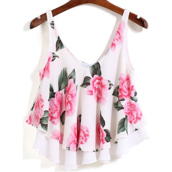 SheIn(sheinside) White Strap Floral Loose Cami Top ($14) ❤ liked on Polyvore featuring tops, shirts, crop top, white, white crop top, white tank, white shirt and white crop shirt