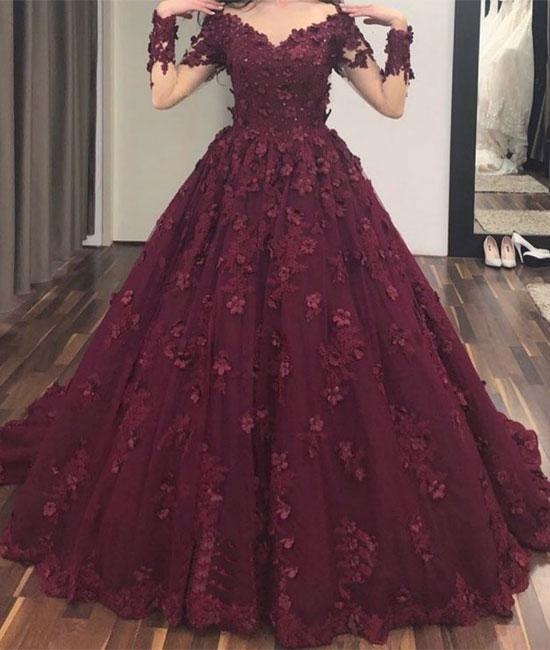 Burgunder V-Ausschnitt Tüll Applique langes Abendkleid, Burgunder Abendkleid   – Prom Dress LOVE