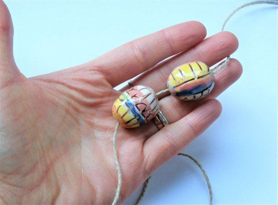 Set of 2 big beads mismatched easter yellow par CeramicBeadsArt