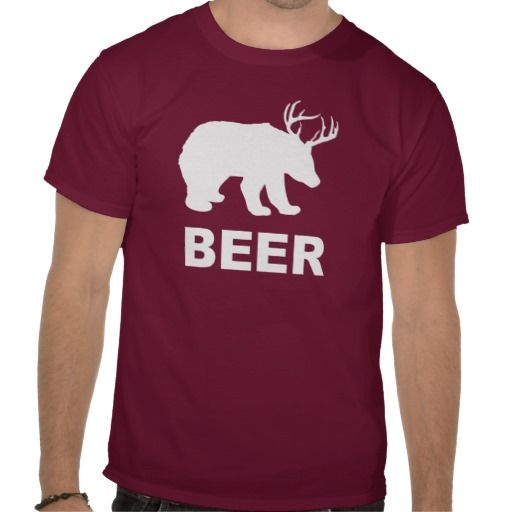 Bear Deer Beer? T-shirt Design - many styles and colours, both men's and lady's / women's (t-shirts, tee, tees, t shirt, tshirt, creative, cool, graphic, style, text, funny, drinking, alcohol, bear, deer, hilarious, joke, humour, humorous)