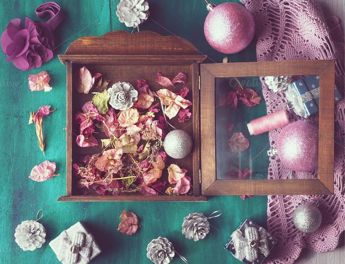 Christmas still life on green by Life Morning Photography on Creative Market
