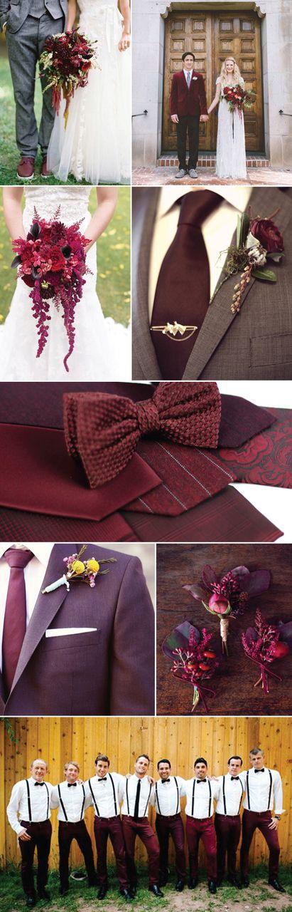 Groomsmen Accessories in Marsala Color | Ties, Pocket Squares + Bow Ties in Marsala ✿ ☺. ☂. ✿