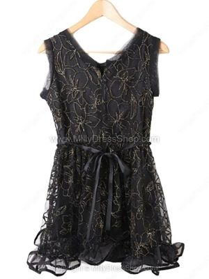 Black Sleeveless Lace Mesh Yoke Embroidery Dress