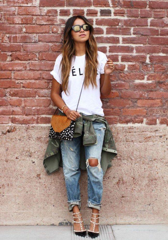 Zerrissene jeans damen kombinieren