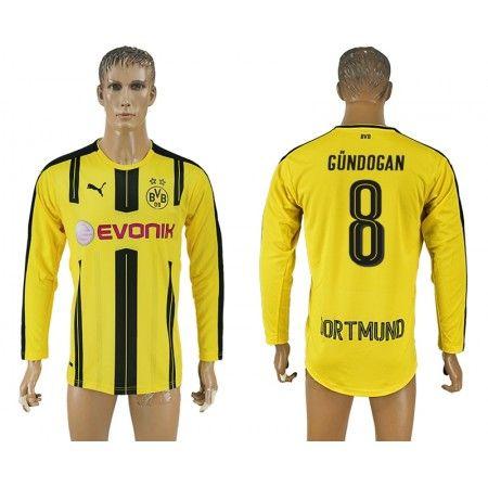 BVB 16-17 Ilkay #Gundogan 8 Hjemmebanetrøje Lange ærmer,245,14KR,shirtshopservice@gmail.com