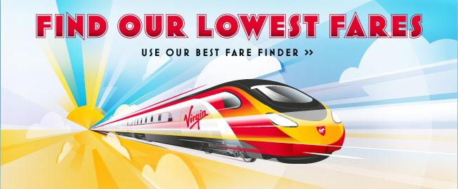 Virgin Trains. Find our lowest fares ad.