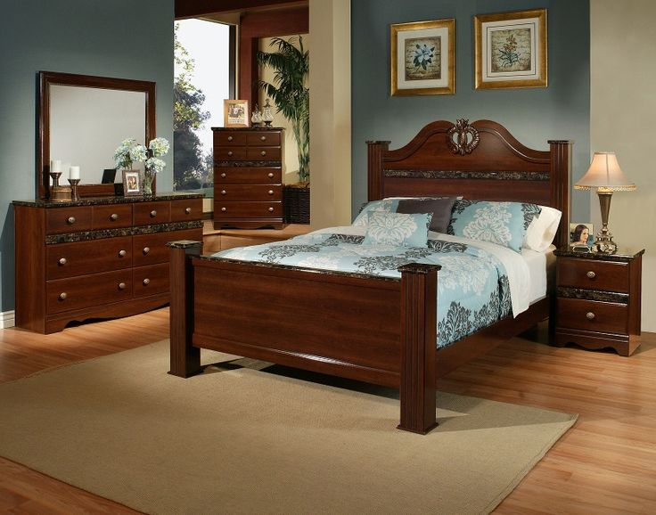 Sandberg Furniture Camden Cherry Finish Bedroom Set With Faux Marble Accents