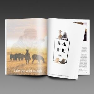 """"""" Save the Wild animals """" poster and magazine page ."""