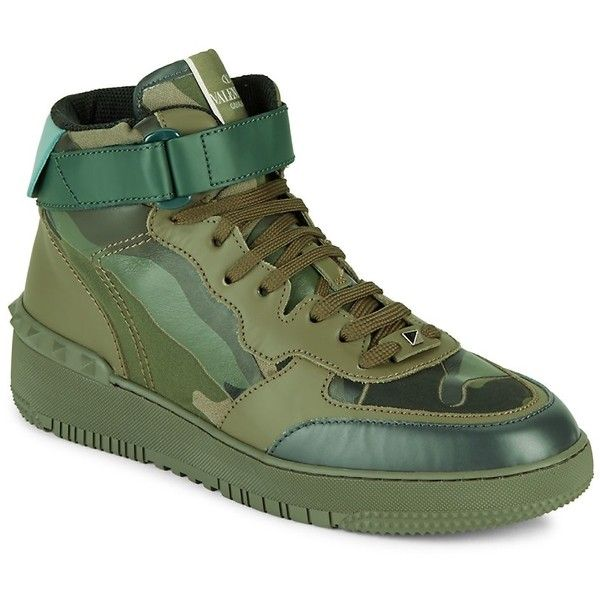 VALENTINO GARAVANI Men's Leather Mid Top Sneakers - Size 39 ($400) ❤ liked on Polyvore featuring men's fashion, men's shoes, men's sneakers, no color, mens monk strap shoes, valentino mens sneakers, mens leather shoes, mens fur lined shoes and mens leather sneakers