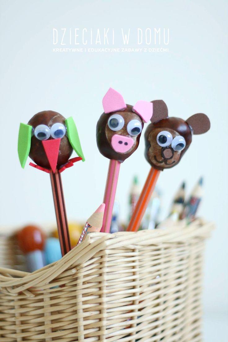 Conker animal puppet craft / zwierzątka 0 kukiełki z kasztanów