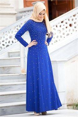 Puane - Boncuk Detaylı Sax Mavisi Elbise