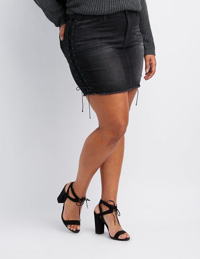 Charlotte Russe Plus Size Refuge Lace-Up Detail Denim Mini Skirt