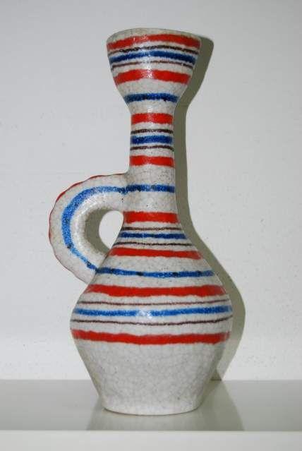 Bottiglia brocca vaso guido gambone a righe orizzontali
