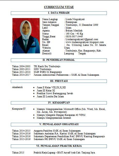 Pin by Contoh Surat Lamaran Kerja on Contoh Daftar Riwayat Hidup / Curriculum Vitae (CV ...