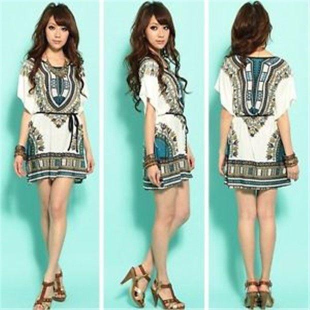 Fd778 Bohemia Batwing Floral Lycra Loose Summer Women T-Shirt Blouse Dress L  A