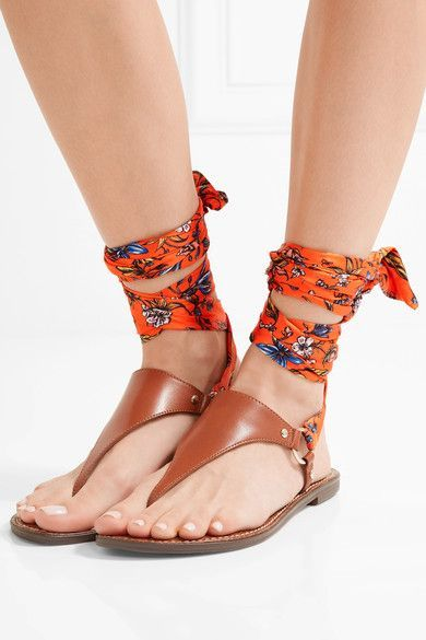Slight heel Tan leather, multicolored satin Ties at ankle Designer color: Shire Brown