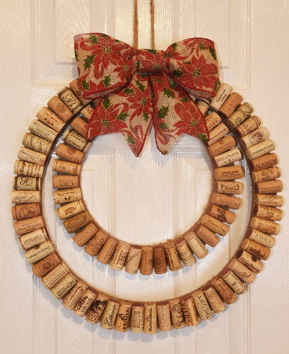 Corcho del vino guirnalda, guirnalda de corcho del vino moderno con arco rústico Navidad, guirnalda de 18 pulgadas de diámetro